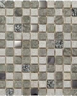 CHAMONIX Gris ist ein Naturstein Mix Mosaik mit eingearbeiteten Alu- und Gaskomponenten
