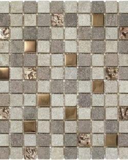 CHAMONIX Rose ist ein Naturstein Mix Mosaik mit eingearbeiteten Alu- und Gaskomponenten.