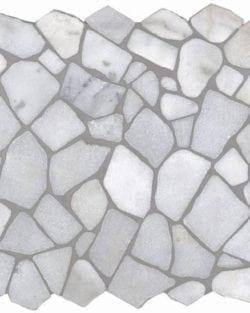 CRUSH Bianco Carrara sind Flache Marmor Bruchstein Mosaike in diversen Farbtönen.