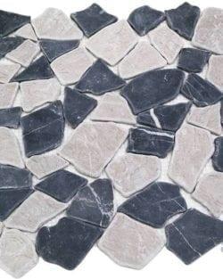 CRUSH Black Grey sind Flache Marmor Bruchstein Mosaike in diversen Farbtönen.