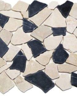 CRUSH Black White sind Flache Marmor Bruchstein Mosaike in diversen Farbtönen