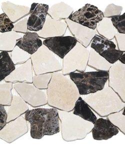 CRUSH Cream Chocolate sind Flache Marmor Bruchstein Mosaike in diversen Farbtönen.