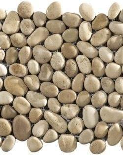 ISONZO Cappiccino tan Formella Fluss-Kieselsteine auf Netze geklebt, die Steine sind ganz.