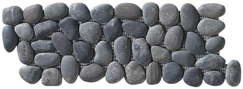 ISONZO Dark Fascia Fluss-Kieselsteine auf Netze geklebt, die Steine sind ganz.
