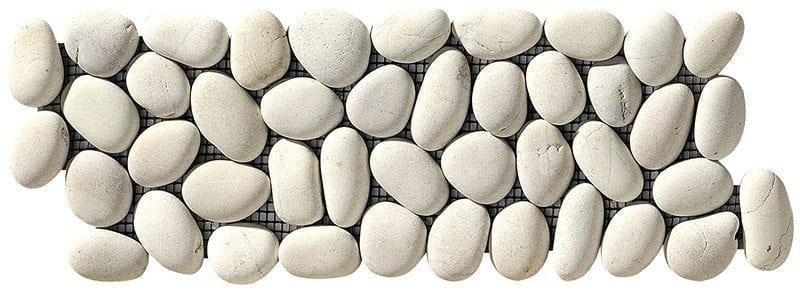 ISONZO White Fascia Fluss-Kieselsteine auf Netze geklebt, die Steine sind ganz.