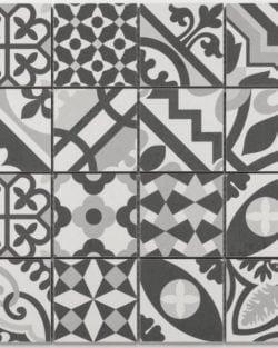 PATCHWORK Black White glasiertes Keramik Mosaik im Belle-Bouquet Style